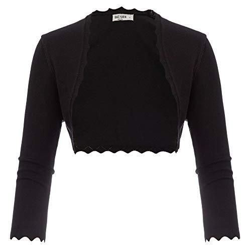 GRACE KARIN Damen Bolero Rundhals Kurz Jacke Elastisch Lighweight Strickjacke Open Front Cardigan 2XL CL960-1