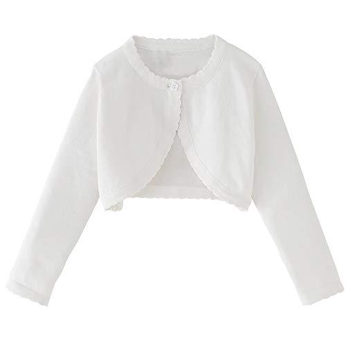 iixpin Baby Mädchen Baumwolle Jacke Strickjacke Gestrickt Pullover Bolero Bolerojäckchen Festlich Weiß Kleinkind...