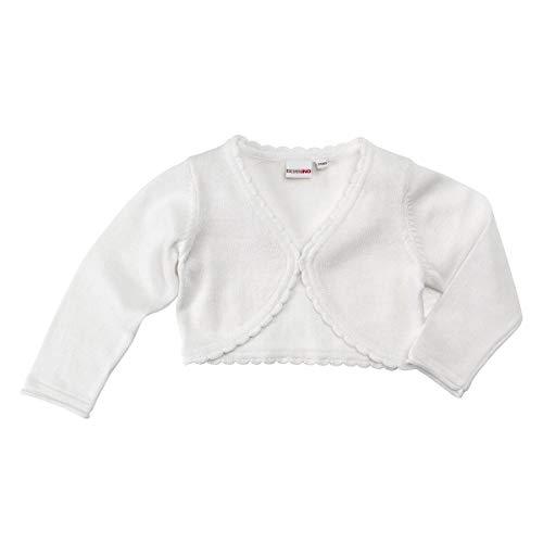 Bornino Strickbolero - kurze Strickjacke - Festliche Mode für Babys - Bolero mit Knopfverschluss & Wellenkante -...