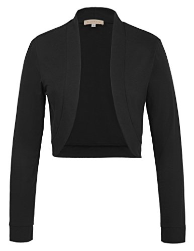 Kate Kasin Damen High Stretchy Long Sleeve Front Open Shrug Mantel für Party Schwarz 823 M