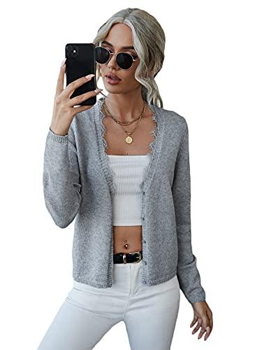 SheIn Damen Cardigan V-Ausschnitt Strickjacke Pullover Pulli Dünne Jacke mit Knöpfen vorne und Kontrast-Spitze...