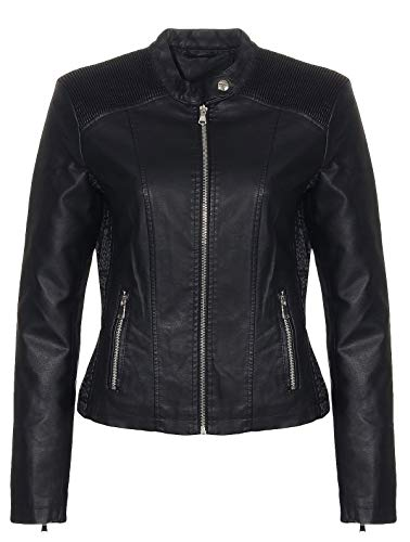 Malito Damen Jacke | Kunstleder Jacke | lässige Biker Jacke mit Steppung | Jacke mit Stehkragen | Faux Leather 5195...