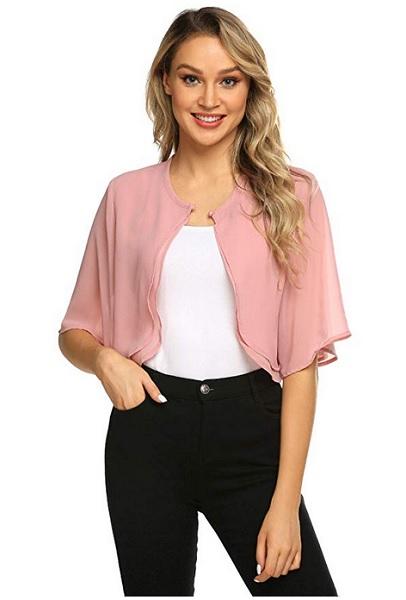 Bolero Jacke Bolero Jäckchen rosa pink festlich kurzarm